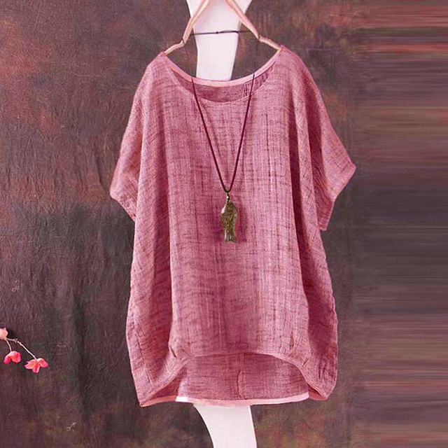 Plus Size S-5L linen bat short-sleeved women's casual loose top thin section shirt Tee shirt pullover Ropa de mujer 6