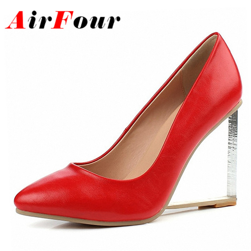 ФОТО Airfour Wedding Shoes Classic Sexy Pointed Toe Women Transparent High Heels Women Pumps Shoes Women Spring Design Platform Pumps