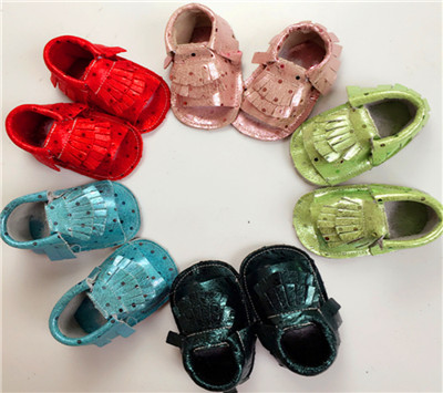 2016 Summer Genuine Leather Newborn Baby Boy Girl Prewalker Polka Dot Shoes Infant Fringe Baby Moccasins Soft Double Sole Shoes