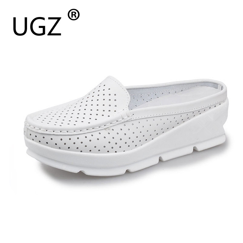 UGZ Summer Cow Leather Casual Woman Sandals Handmade Soft Wedges Shoes Closed Toe Non-Slip Breathable Sandals Plus Size 36-40 lanshulan bling glitters slippers 2017 summer flip flops platform shoes woman creepers slip on flats casual wedges gold