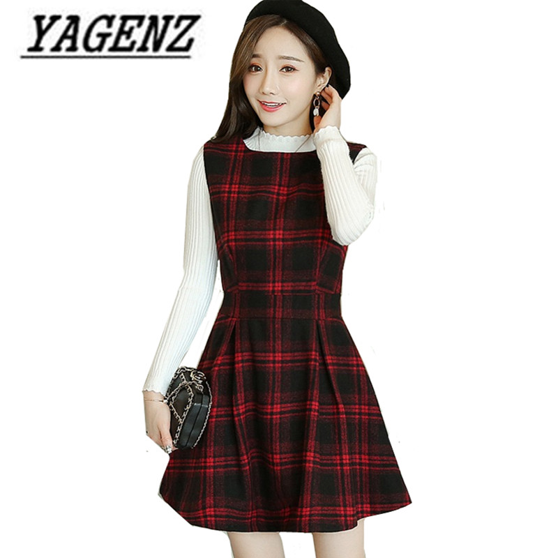 Oversize Woolen Dress for Women's clothing Autumn/Winter 2018 New Korean Slim Lattice Sleeveless Dress Lady Wool Vest Dress 4XL