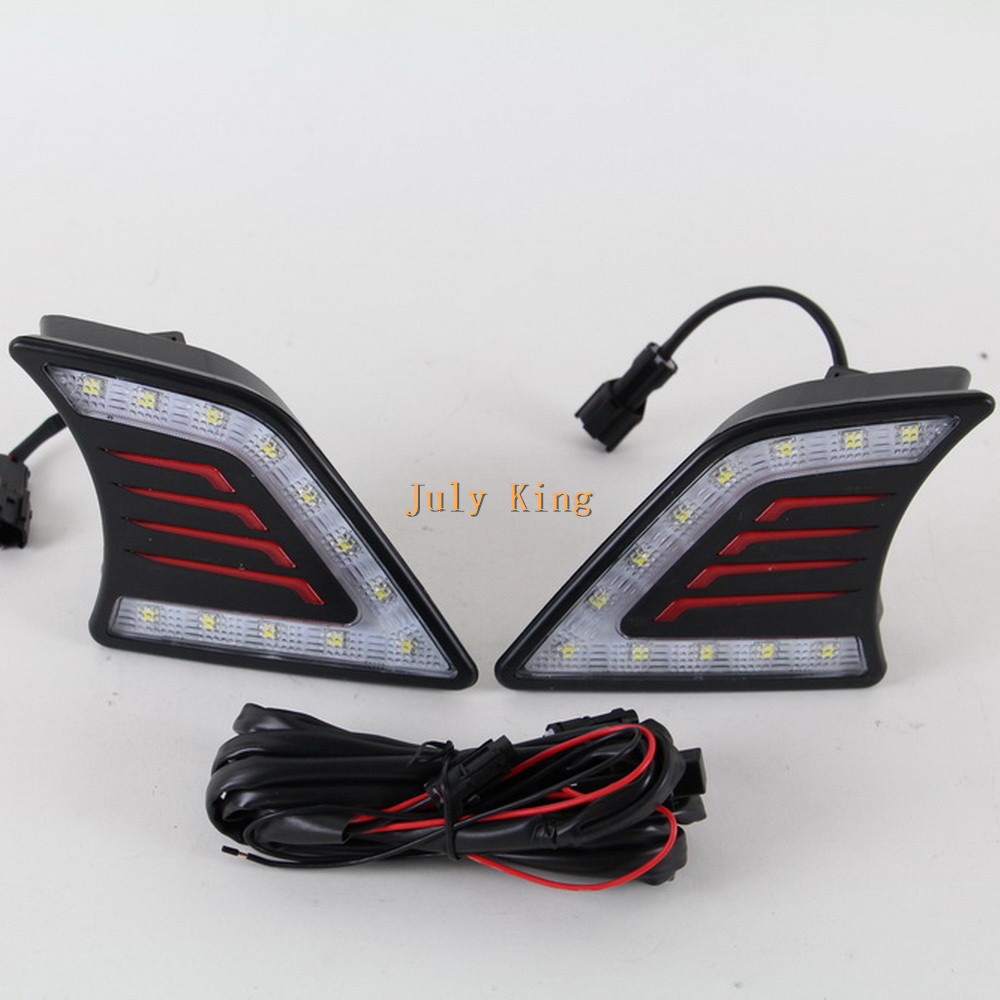 July King LED Daytime Running Lights DRL LED Front Bumper Fog Lamp case for Toyota Hilux Vigo 2012~14, 1 pair/lot july king led daytime running lights drl case for ford mondeo 2011 2012 led front bumper fog lamp 1 1 replacement 1 pair lot