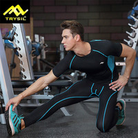 Gym Fitness Compression Short Sleeve T Shirt Leggings Sets Mens Sport Crossfit T Shirt Suits Quick