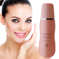 ABS Ultrasonic Face Skin Deep Scrubber Exfoliator Blackhead Removal Rechargeable Facial Peeling Massager Cleaner Pink