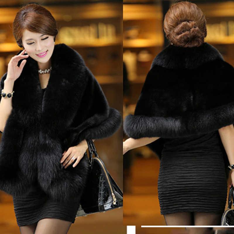 Luxe élégant hiver chaud fourrure manteau châle Cape femmes Faux vison cachemire mode solide dames fausse fourrure Pashmina Poncho