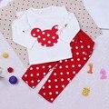 Хлопок Девочка Устанавливает Одежда Dot С Длинным Рукавом + Брюки Минни Pattern Мода Костюм Новорожденные Дети Девушка Набор Одежды