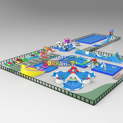 giant steel frame swimming Pool Inflatable Commercial Grade Inground Inflatable Water Slide Park
