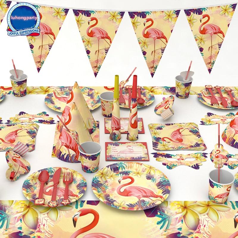 1 Pack Flamingo Platte Tasse Messer Karte Maske Serviette Kappe Kunststoff Geschenk Tasche Für Kid Flamingo Geburtstag Party Dekoration Flamingo Versorgung