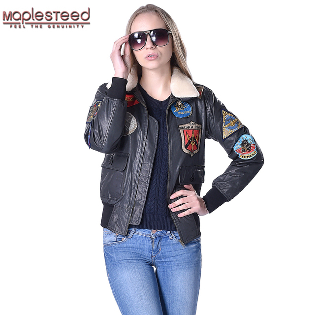 MAPLESTEED Women Leather Jacket Genuine Cowhide Wool Fur Collar Air Force  Flight Jacket Pilot Biker Motorcycle Coat Winter 181 1dc202d36e