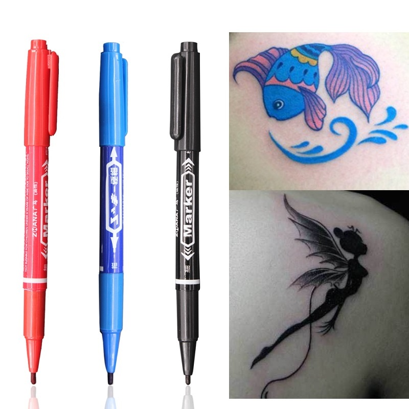 3PCS Tattoo Marker Pen Skin Marker Fine Point Large Capacity Ink 0.5mm&1mm Scribe Tattoo Tool Waterproof Ink Eyebrow Tattoo Pen