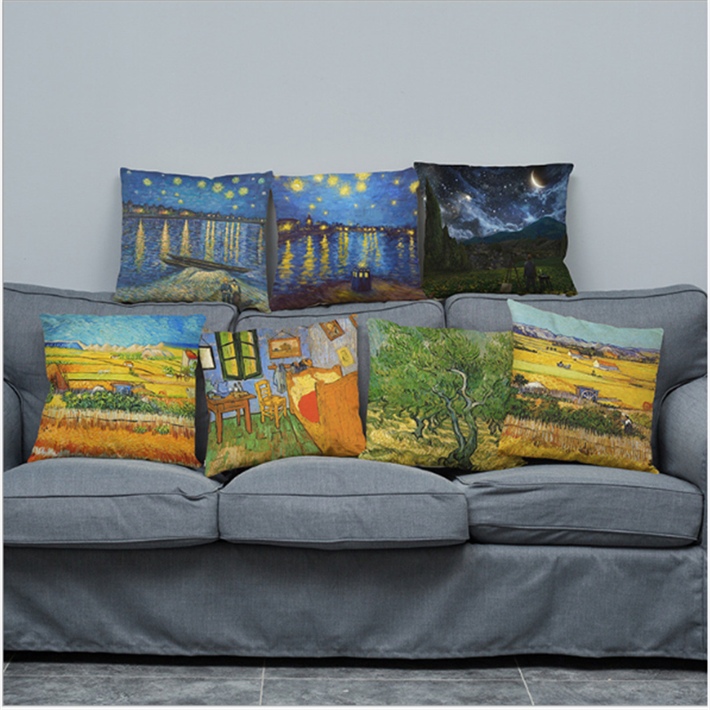 Oil painting printing car cushion pillowcase sofa living room bed pillow Home decoration 45x45cm