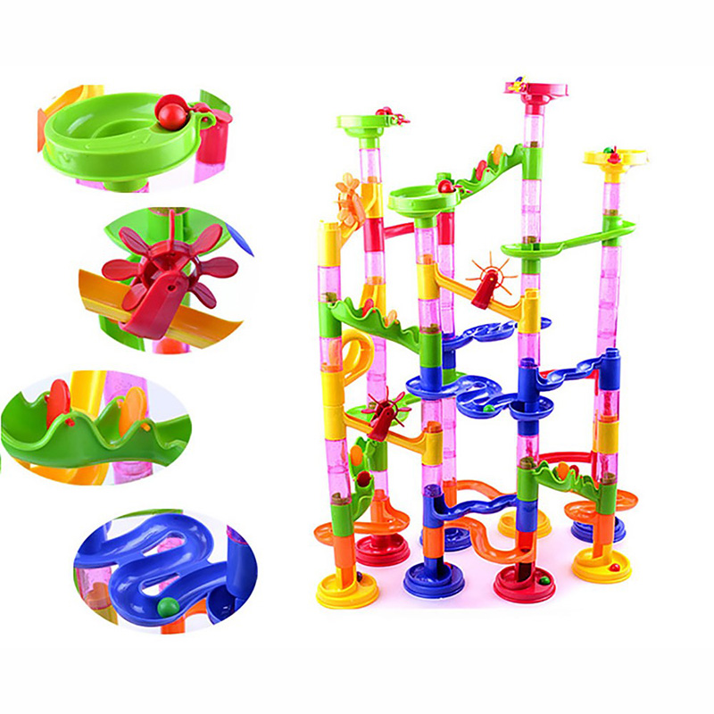 105 pcs Maze Balls Track Building Blocks Plastic DIY Construction Marble Race Run Children Gift boy girl Kid's Toy Educational peaks run 105