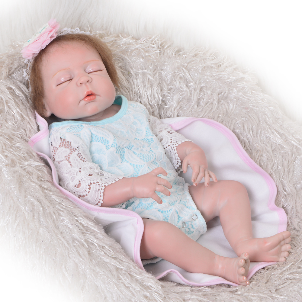 Fashion 23 Inch Realistic Reborn Alive Doll Full Silicone Vinyl Rebirth Doll For Girl Children