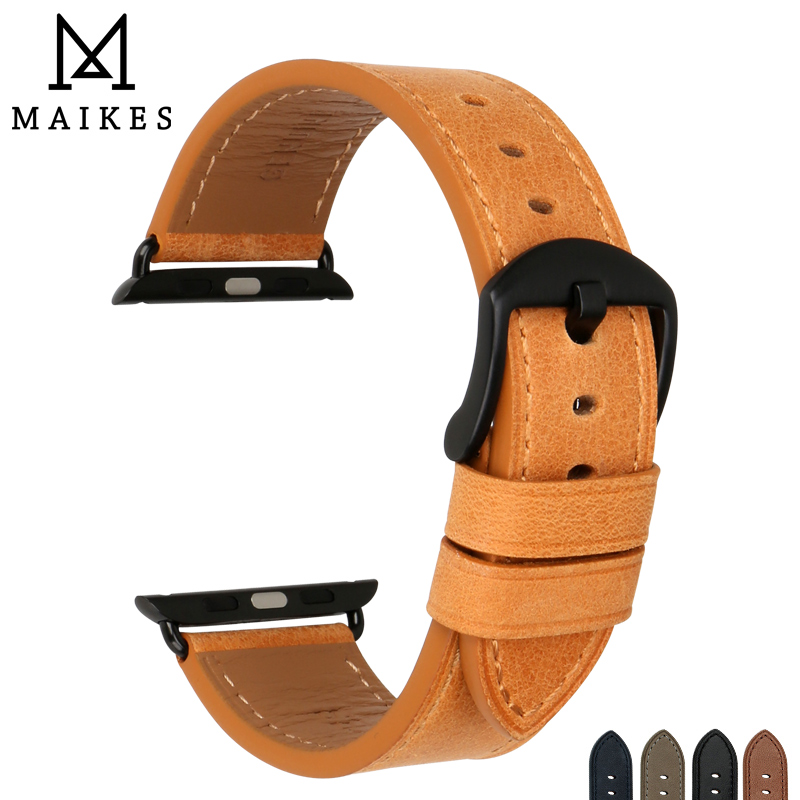MAIKES Quality Leather Watchband Replacement For Apple Watch Band 44mm 42mm 40mm 38mm Series 4 3 2 1 iWatch Apple Watch Strap 38mm 42mm apple watchband special design handmade leather watch strap 4 color available for iwatch apple watch free shiping