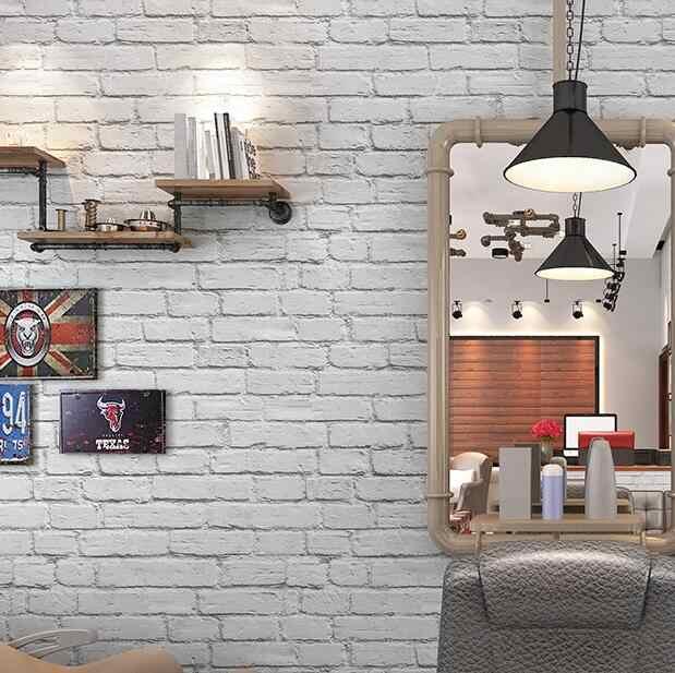 Waterproof White Brick Effect Wallpaper 3d Wall Papar Roll Modern Rustic Realistic Faux Brick Texture Vinyl Pvc Wall Covering Wallpapers Aliexpress
