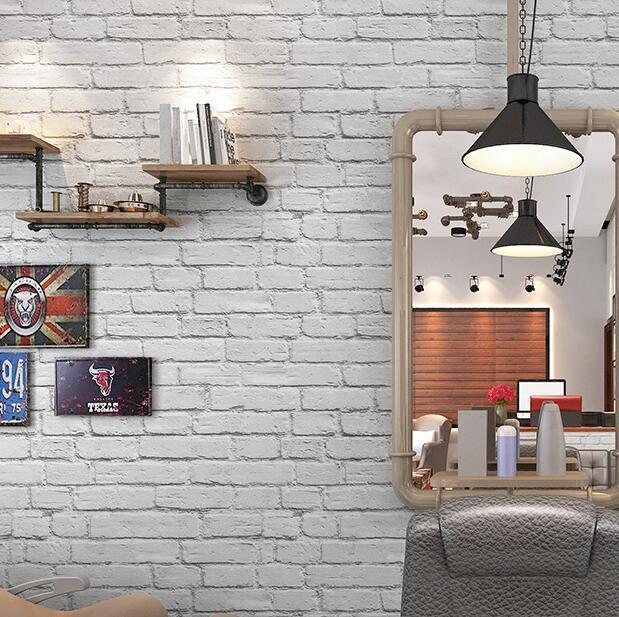 White Faux Brick: Waterproof White Brick Effect Wallpaper 3D Wall Papar Roll