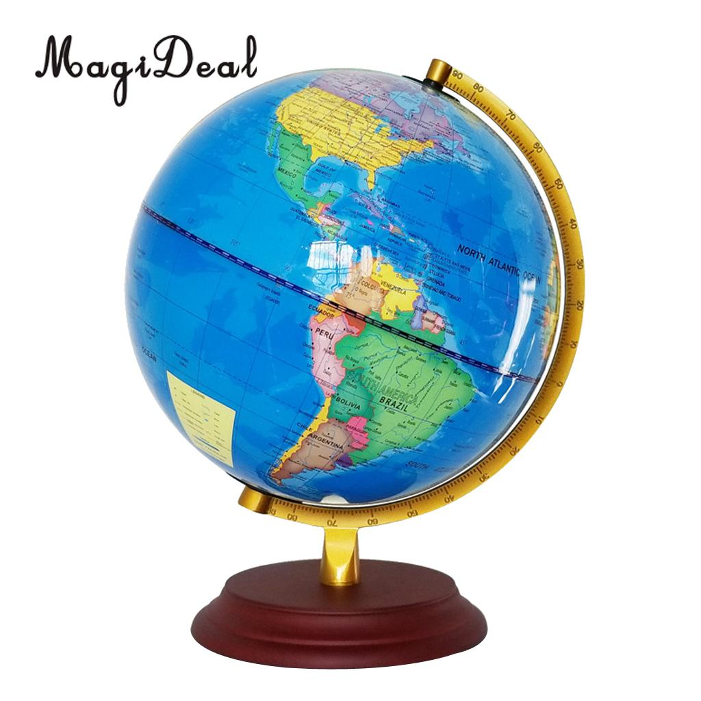 MagiDeal Vintage 23cm Light Up Wooden Base Metal Stand Geographical World Globe Map Home School Office Decor Ornaments Blue