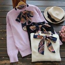9899 new 2016 KD season sweet lace bow tie neck long sleeved sweater sweater coat sleeve head