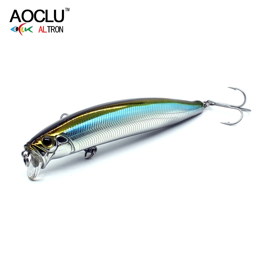 AOCLU Lures Fishing-Lure Hard-Bait Vmc Hooks Wobblers Minnow Crank Magnet-Bass with Fresh