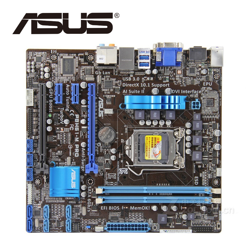 Asus P8H61-M PRO Desktop Motherboard H61 Socket LGA 1155 i3 i5 i7 DDR3 16G uATX UEFI BIOS Original Used Mainboard On Sale asus p8b75 m lx desktop motherboard b75 socket lga 1155 i3 i5 i7 ddr3 16g uatx uefi bios original used mainboard on sale