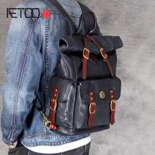 AETOO Head-layer cowhide shoulder bag handmade retro leather male and female backpack