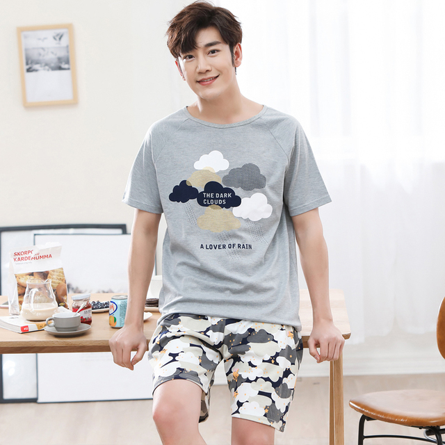 Summer Men Pyjamas Short Sleeve 100% Cotton Casual Pajamas Set Sleep Shorts Suit Male Big Size L-4XL Sleepwear Lingerie