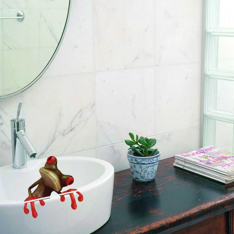 1PC Etiqueta Moda Wc Bonito 3D Sapo Verde Higiênico Adesivo Casa Decoração Da Parede Do Banheiro Adesivo
