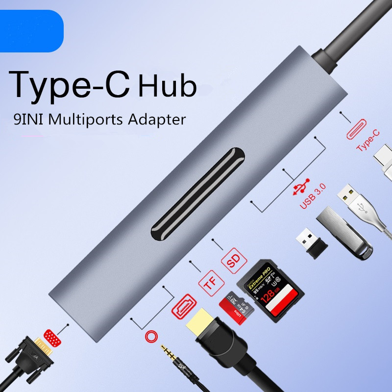 Thunderbolt 3 USB type-c vers HDMI 4 K VGA USB3.0x3 Hub TF SD Slot USB-C PD Audio femelle Portable 9in1 adaptateur pour Macbook Pro 2018