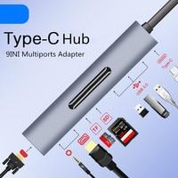 Thunderbolt 3 USB Type c to HDMI 4K VGA USB3.0x3 Hub TF SD Slot USB C PD Audio Female Portable 9in1 Adapter for Macbook Pro 2018