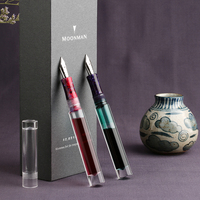 NEW Moonman C1 Dropper Fountain Pen Fully Transparent F/M/Bent Nib with Converter Large Capacity Ink Storing Fashion Gift Pen