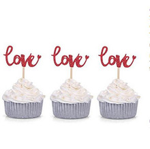 100pcs Red Glitter Love With Heart Cupcake Toppers Wedding Party Cake Decoration Food Picks Free Shipping