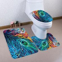 Non Slip Tropical Plants Printed Flannel Bathroom Mats