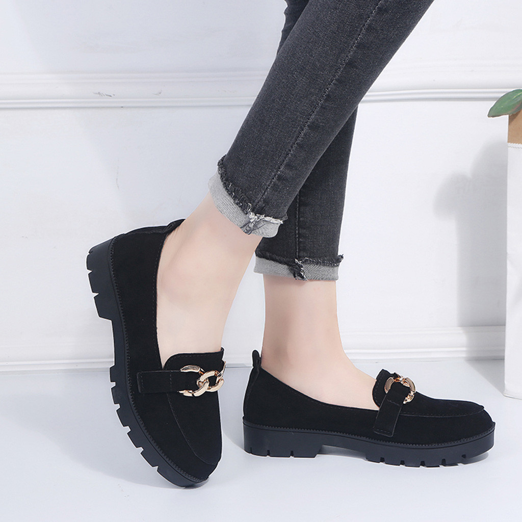 Women Formal Pumps Autumn Work Shoes With Platform Lady Flock Pump Shallow Low Heel Ankle Loafers Slip On Office Ankle Boat