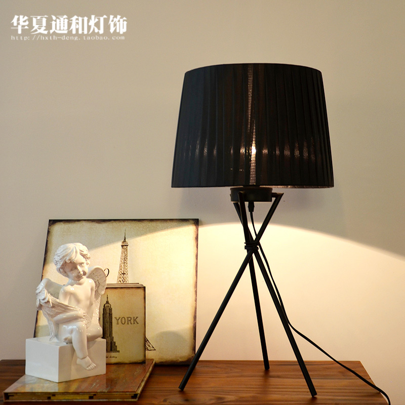 The Nordic Minimalist Modern Creative Fashion Floor Lamp Bedside Black Cloth Cover Three Study