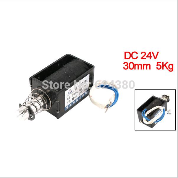 1 PCS NOW JF-1578B DC 24V Push Pull Type Open Frame Solenoid Electromagnet 30mm Stroke 50N 5Kg 11LB Force Discount free shipping dc 24v 3a current 1000g force solenoid electromagnet 10mm stroke linear push pull type solenoid electromagnet