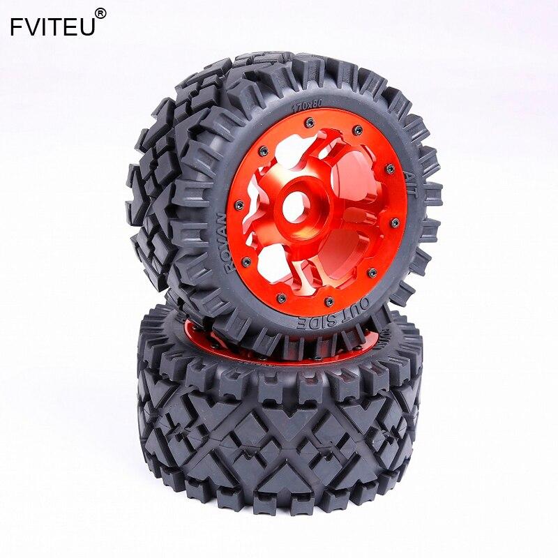 FVITEU задний вездеход комплект шин с ЧПУ сплав задние колеса ступицы для 1/5 HPI Baja 5B SS Rovan King Motor