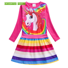 Girls dresse's 2019 new spring unicorn print rainbow stripes girl long-sleeved dress children clothes girls princess dress