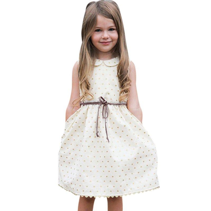 4420ef1e496ca Enfants Filles Bébé Robe Sans Manches Princesse Parti Pageant Robes Avec  Ceinture Casual Vêtements
