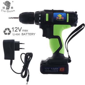 AC 100 - 240V Cordless 12V Electric Drill / Screwdriver with 18 Gear Torque and Two-speed Adjustment Button Electric tools voto ac 100 240v cordless 12v electric drill screwdriver with adjustment switch and two speed adjustment button for punching
