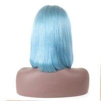 Уха до уха Синтетические волосы на кружеве al парик бразильский прямые волосы светло голубой человеческие волосы 13x4 Синтетические волосы на