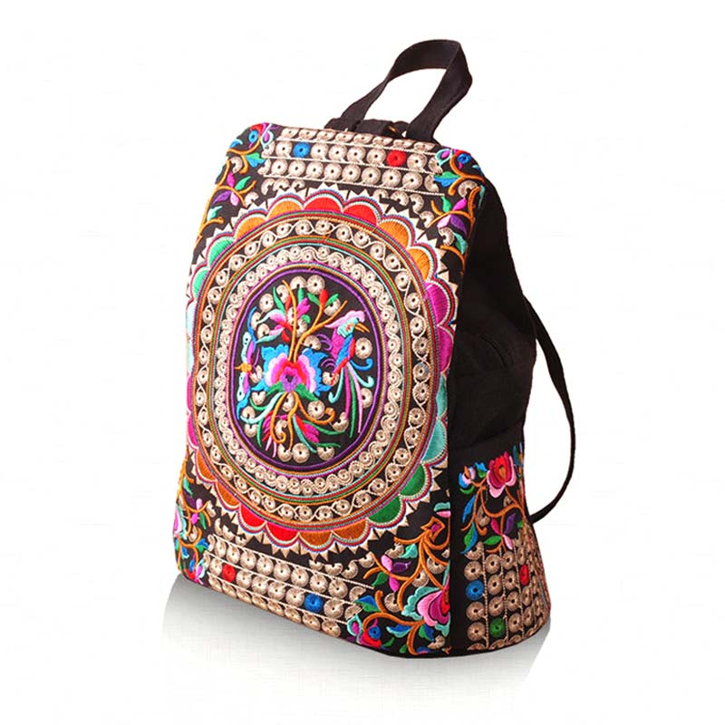 Vintage Women Ethnic Canvas Backpack Handmade Flower Embroidery Travel Bags Schoolbag Backpacks Satchel Popular