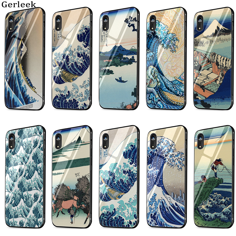 Coque en verre tremp Hokusai la grande vague hors Kanagawa housse pour iPhone 11 Pro Max