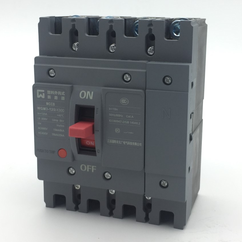Compact moule cas circuit disjoncteur de rupture élevée capacité 125A WGM3-125 MCCB 4 Pôle de haute qualité belle apparence