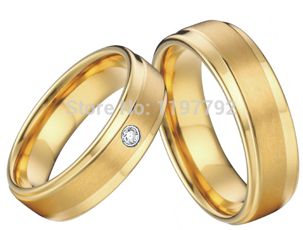 2016 New Fashion Titanium Engagement Wedding Rings Sets For Couples 18k Gold Plated Health Jewelry