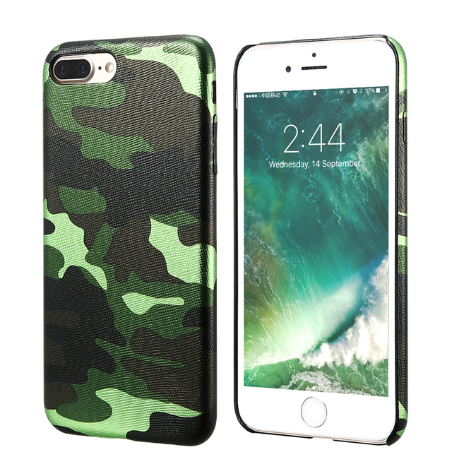 Camouflage Leather Back Cover Case For iPhone 7 7 Plus For iPhone 6 6S Plus 5 5s SE