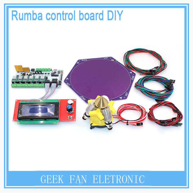 New DIY BIQU Rumba control board 3 in 1out V6 extruder+heatbed+LCD 2004+jumper wire Rumba control board kit for Kossel Printer diy biqu rumba 3d printer rumba control board lcd 12864 controller display jumper wire a4988 driver for reprap 3d printer kit103