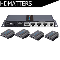 LKV714Pro HDMI UTP الخائن 1X4 HDMI موسع بواسطة cat5e/6 كابل يصل إلى 40 متر مع 4 استقبال HDMI وشملت 1 HDMI حلقة خارج
