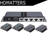 LKV714Pro HDMI UTP splitter 1X4 HDMI extender door cat5e/6 kabel tot 40M met 4 HDMI ontvangers inbegrepen + 1 HDMI loop out