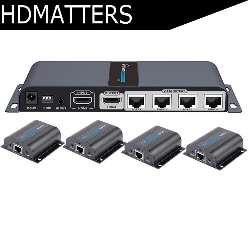 LKV714Pro HDMI UTP splitter 1X4 HDMI extender cat5e/6 cavi fino a 60 m con 4 HDMI ricevitori incluso + 1 HDMI loop di uscita