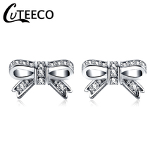 CUTEECO 2018 Fashion Hight Quality Silver Brand Earring Sparkling Bow Stud Earrings With Clear CZ Women Party Luxury Jewelry цены онлайн